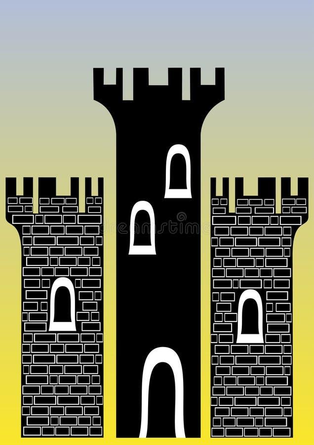 Schloss mit drei Kontrolltürmen lizenzfreie abbildung