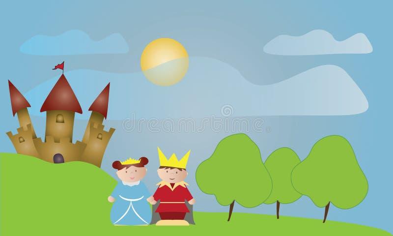 Schloss mit König und Königin lizenzfreie abbildung