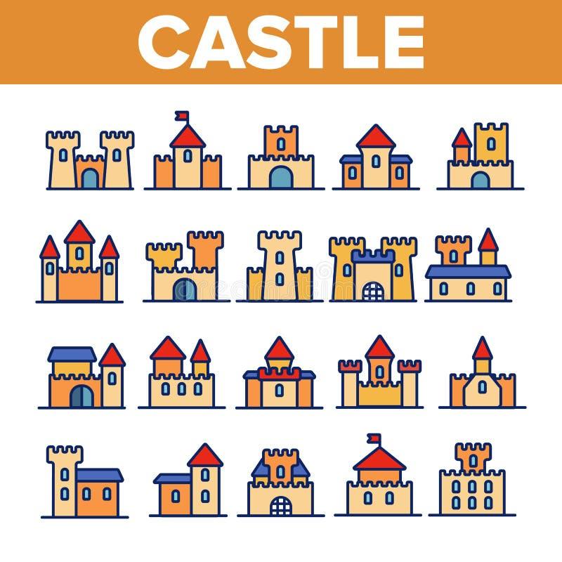 Schloss, mittelalterliche Gebäude-linearer Vektor-Ikonen-Satz lizenzfreie abbildung