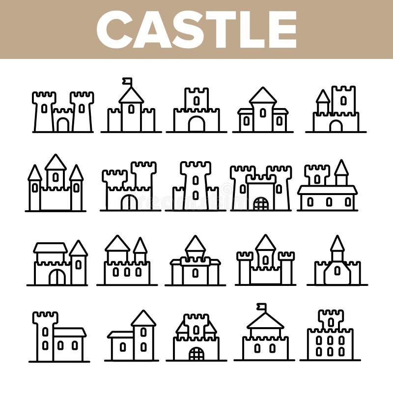 Schloss, mittelalterliche Geb?ude-linearer Vektor-Ikonen-Satz stock abbildung