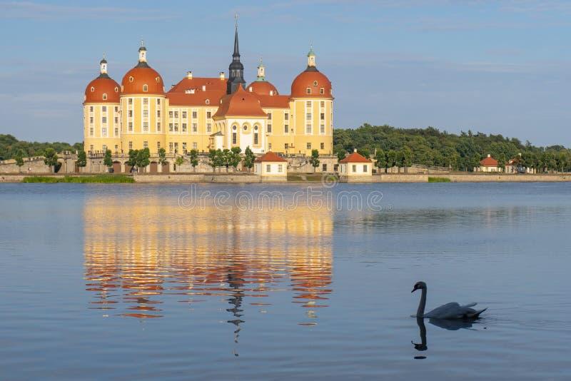Schloss Moritzburg, барочный замок в Moritzburg, около Дрездена стоковые изображения rf
