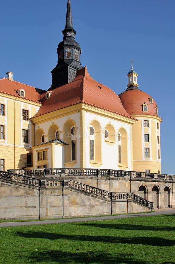 Schloss moritzburg, dresden. Foreshortening from west of the famous baroque castle in the surrounding of dresden stock photo