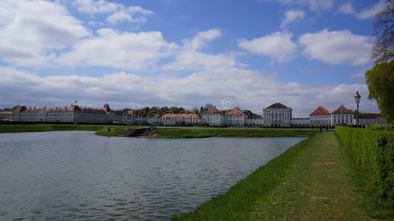 schloss nymphenburg castle bavaria munich pond lake park royalty free stock photos
