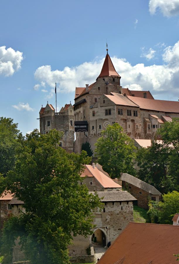 Schloss Pernstein, Gotik- und Renaissanceschloss in der Tschechischen Republik lizenzfreies stockbild