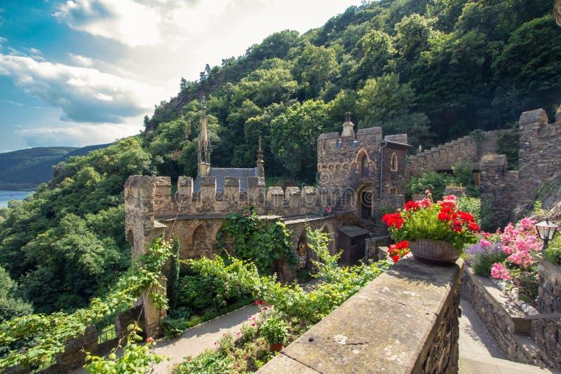 Schloss Rheinstein stockbild