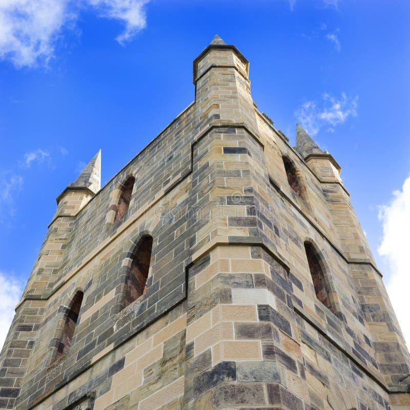 Schloss ruiniert Turm stockbild