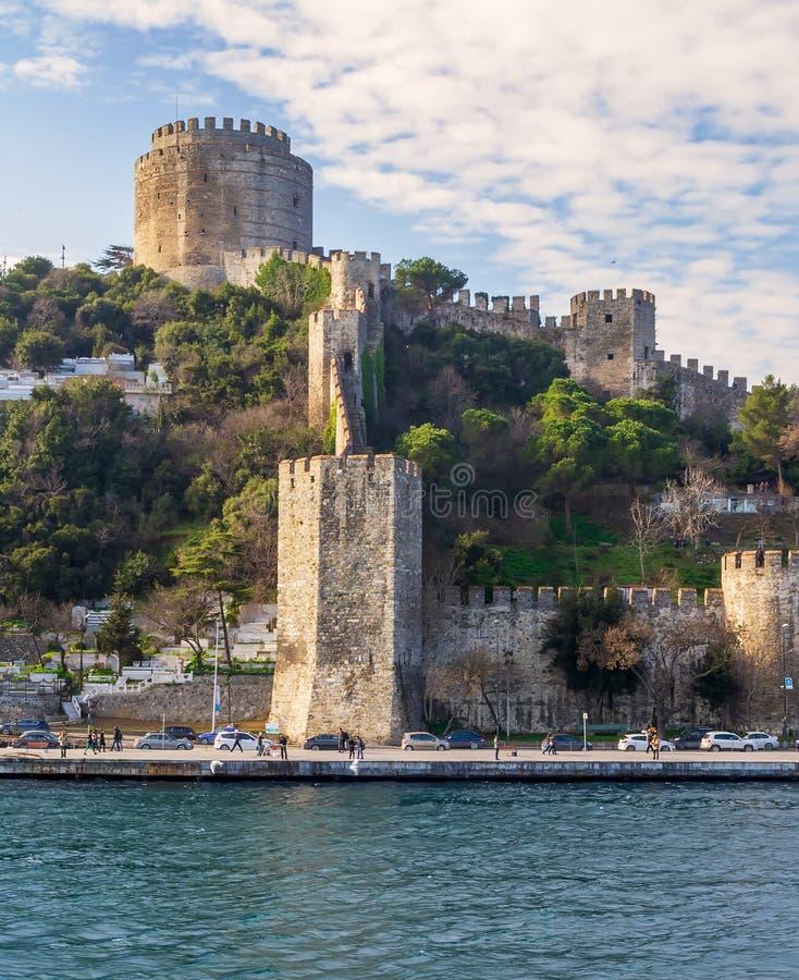 Schloss Rumelihisari Bogazkesen, Rumelian-Schloss, gelegen an den Hügeln der europäischen Seite von Bosphorus-Straße, Istanbul, d stockfoto
