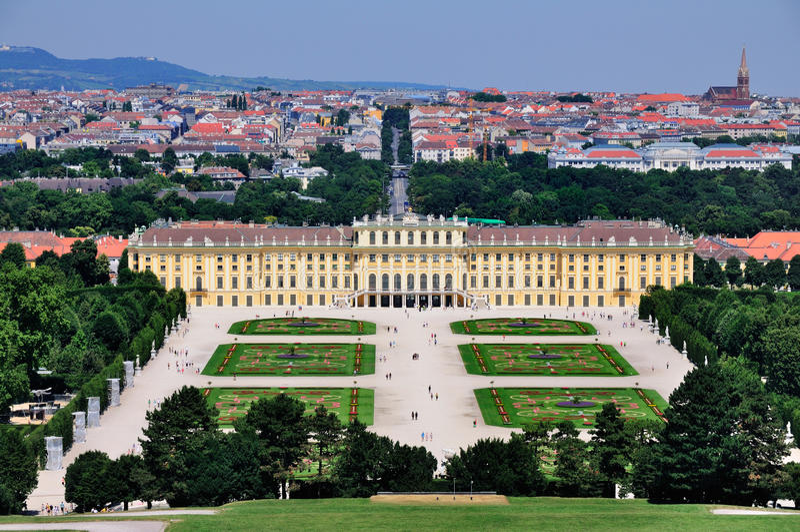 Schloss Schönbrunn, Viena, Austria imagen de archivo libre de regalías