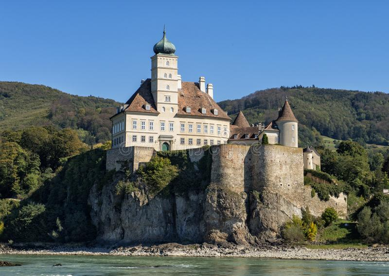 The Schloss Schonbuhel on the South side of the Danube River, Wachau Valley, Lower Austria. Pictured is the Schloss Schonbuhel, an early 12th century castle on royalty free stock photo