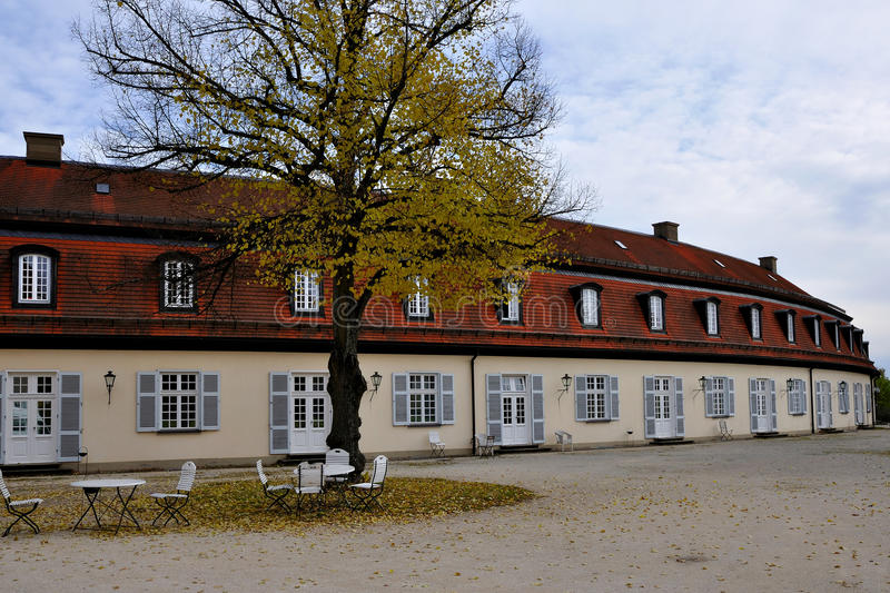 Schloss solitude service buildings, stuttgart. View of the secondary service buildings of the famous castle located in a park in surroundings of the city, they royalty free stock images