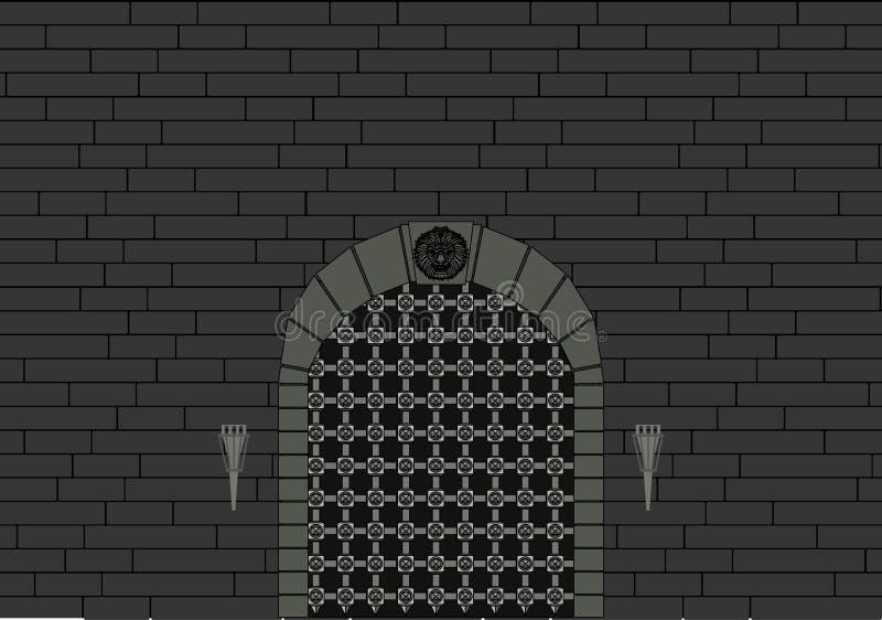 Schloss-Tor und graue Backsteinmauer lizenzfreie abbildung