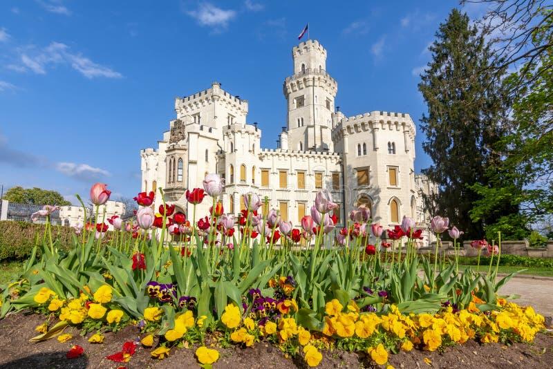 Schloss- und Frühlingsblumen Hluboka nad Vltavou, Tschechische Republik lizenzfreie stockfotografie