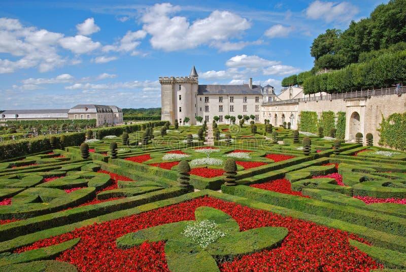 Schloss und Gärten Villandry im August stockfotos