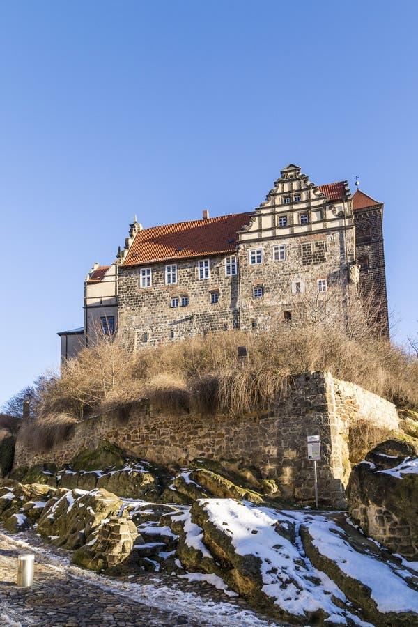 Schloss und Kirche in Quedlinburg, Deutschland stockbild