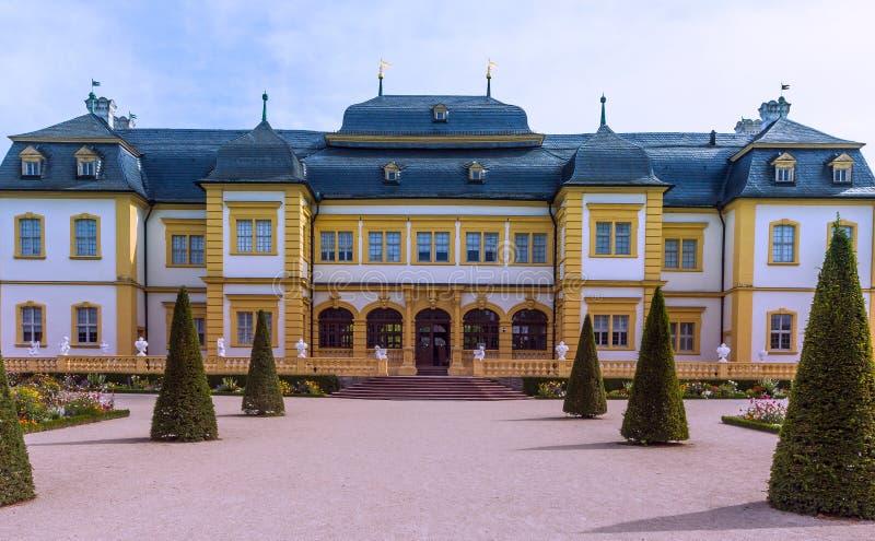 Schloss Veitshöchheim, historyczny pałac z rokoko Uprawia ogródek w Bavaria, Niemcy zdjęcia stock