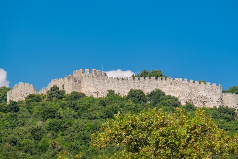 Schloss von Platamonas Griechenland stockbild