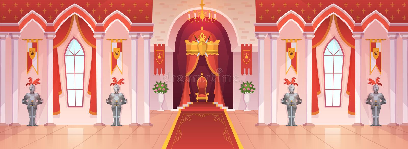 Schlossballsaal Fantasie-Spielkarikatur des mittelalterlichen Zeremonieraumhalleninnenkönigreiches des Thrones des königlichen Pa lizenzfreie abbildung