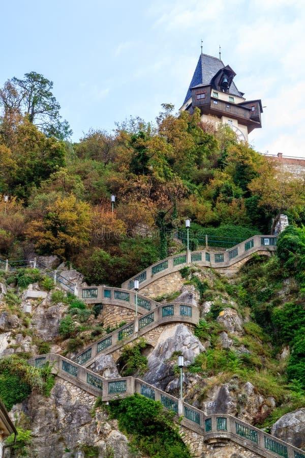 Schlossberg de Graz. photo libre de droits