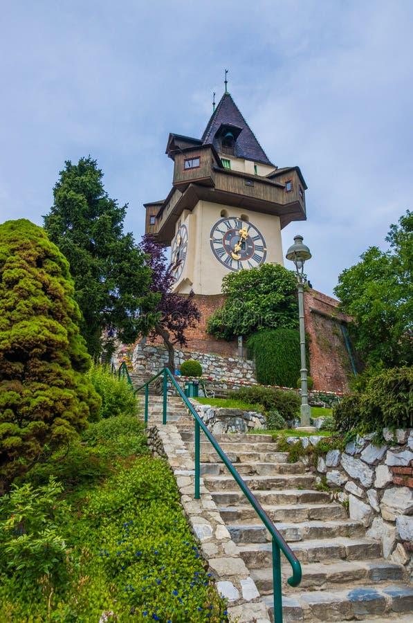 Schlossberg slott ClockTower royaltyfri foto