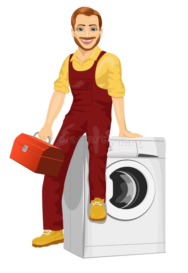 Schlosser, der einen Werkzeugkasten sitzt auf einer Waschmaschine hält lizenzfreie abbildung