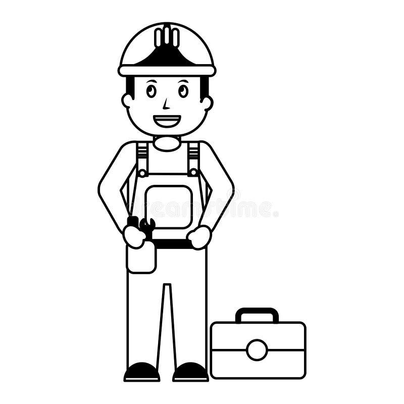 Schlosser in der Uniform mit Werkzeugkasten stock abbildung