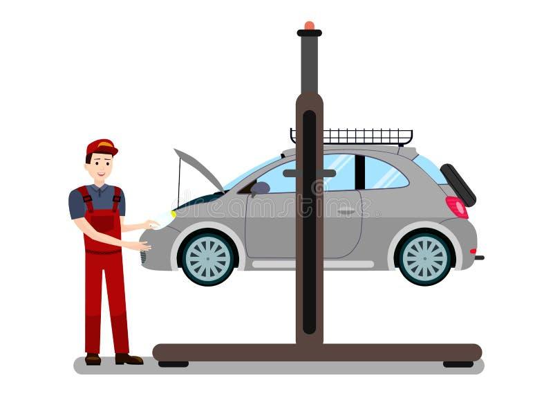 Schlosser-Examines Engine Flat-Vektor-Illustration stock abbildung