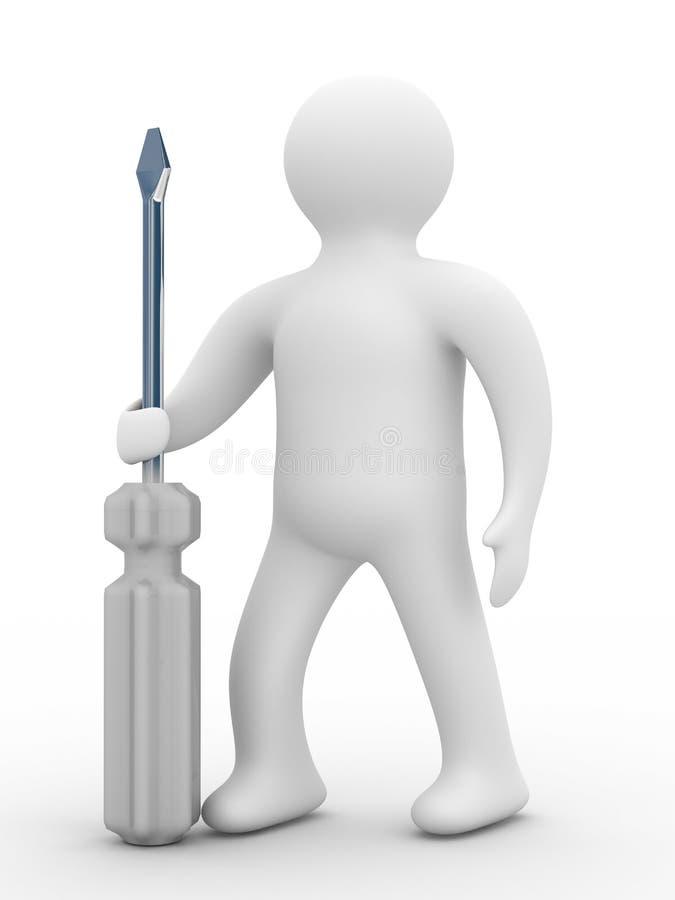 Schlosser mit dem Hilfsmittel auf einem weißen Hintergrund lizenzfreie abbildung