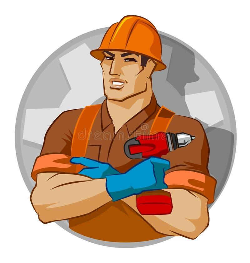 Schlosser mit Schraubengewehr lizenzfreie abbildung