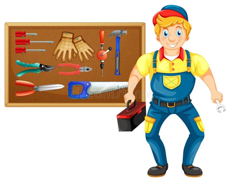 Schlosser mit vielen Werkzeugen lizenzfreie abbildung