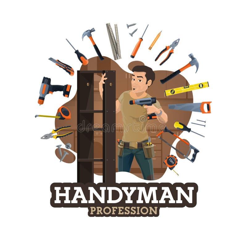 Schlosser- oder Möbelhersteller, Heimwerkerarbeitswerkzeuge lizenzfreie abbildung