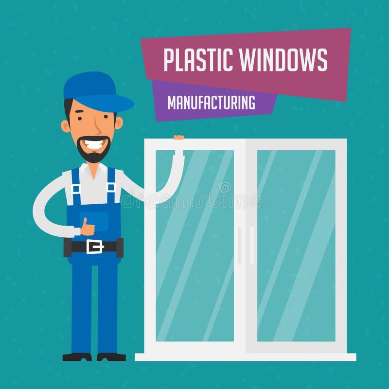 Schlosser stellt Plastikfenster her stock abbildung