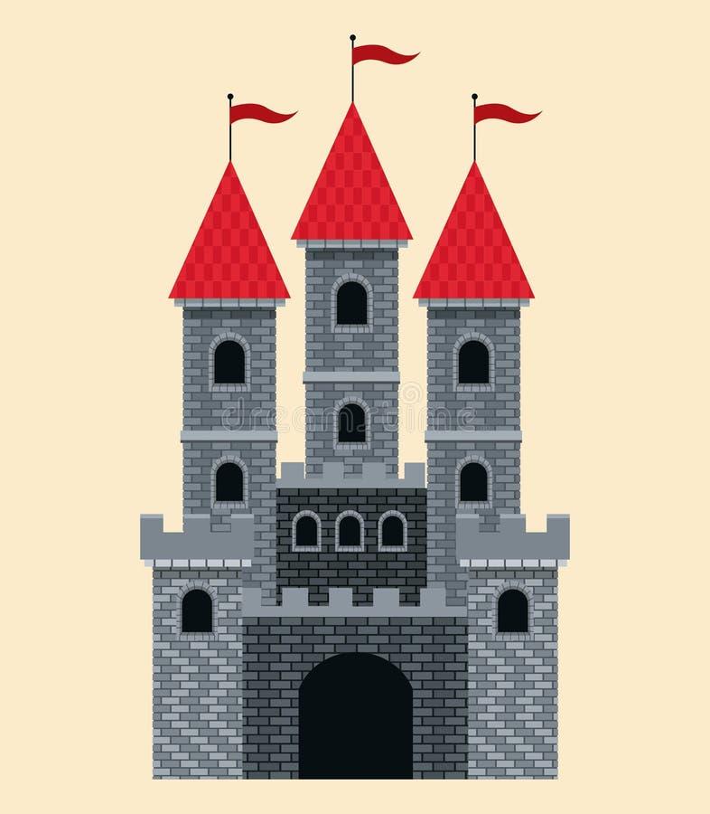 Schlossgeschichte mit rotem Dach und Flaggen lizenzfreie abbildung