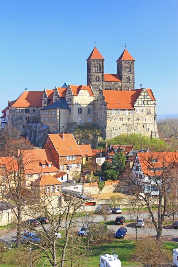 Schlosshügel Quedlinburg, Deutschland lizenzfreies stockfoto