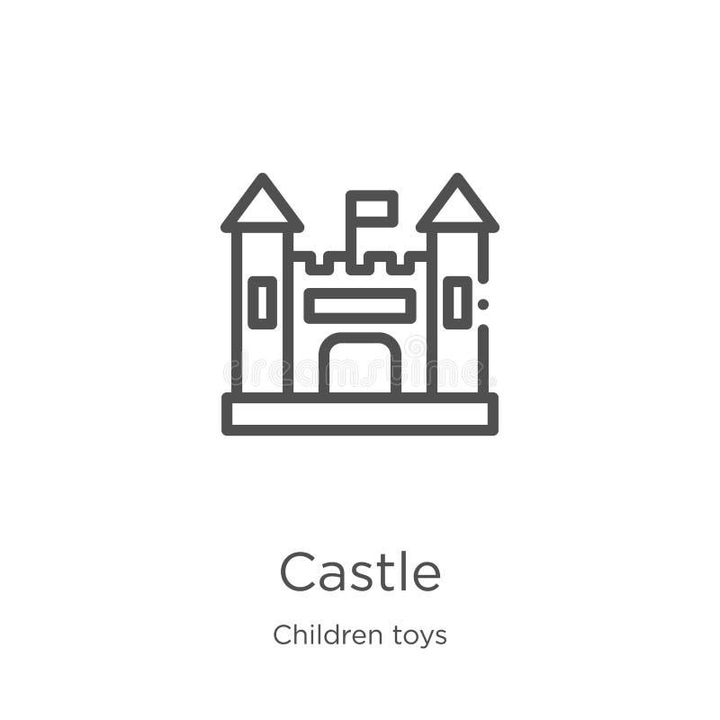 Schlossikonenvektor von der Kinderspielwarensammlung D?nne Linie Schlossentwurfsikonen-Vektorillustration Entwurf, dünne Linie Sc vektor abbildung