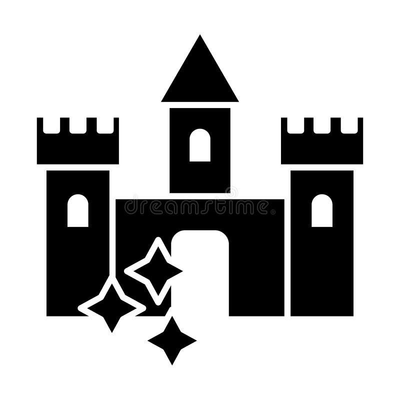 Schlosskörperikone Mittelalterliches Schloss mit Sternen vector die Illustration, die auf Weiß lokalisiert wird Architektur Glyph stock abbildung