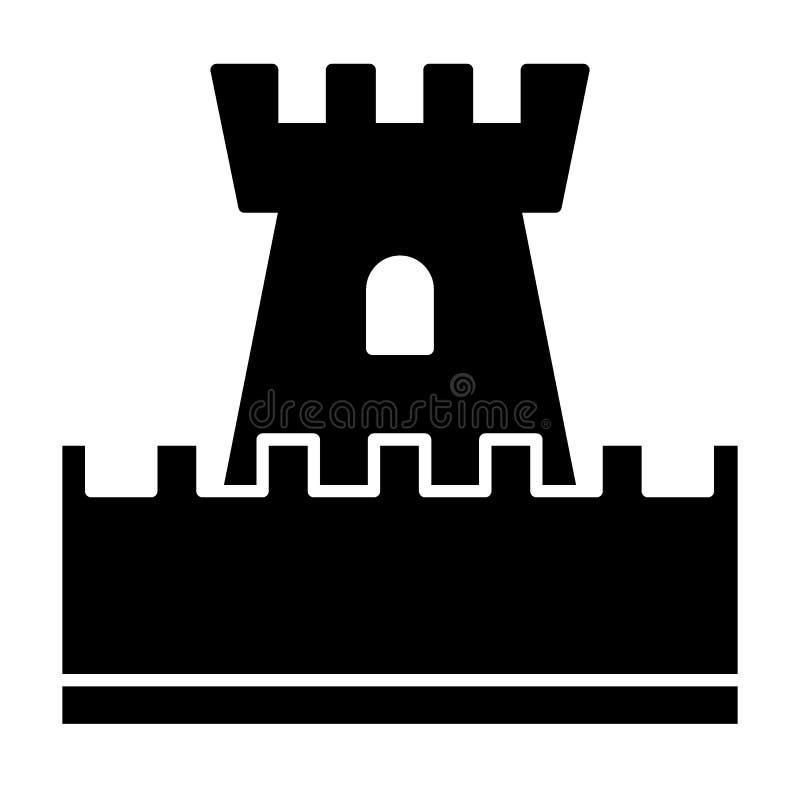 Schlossspielzeug-Körperikone Turmvektorillustration lokalisiert auf Weiß Spielzeug Glyph-Artdesign, bestimmt für Netz und APP lizenzfreie abbildung