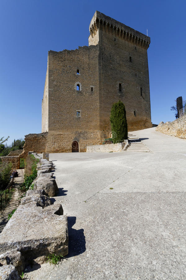 Schlossturm in Chateauneuf-DU-Pape stockfotografie