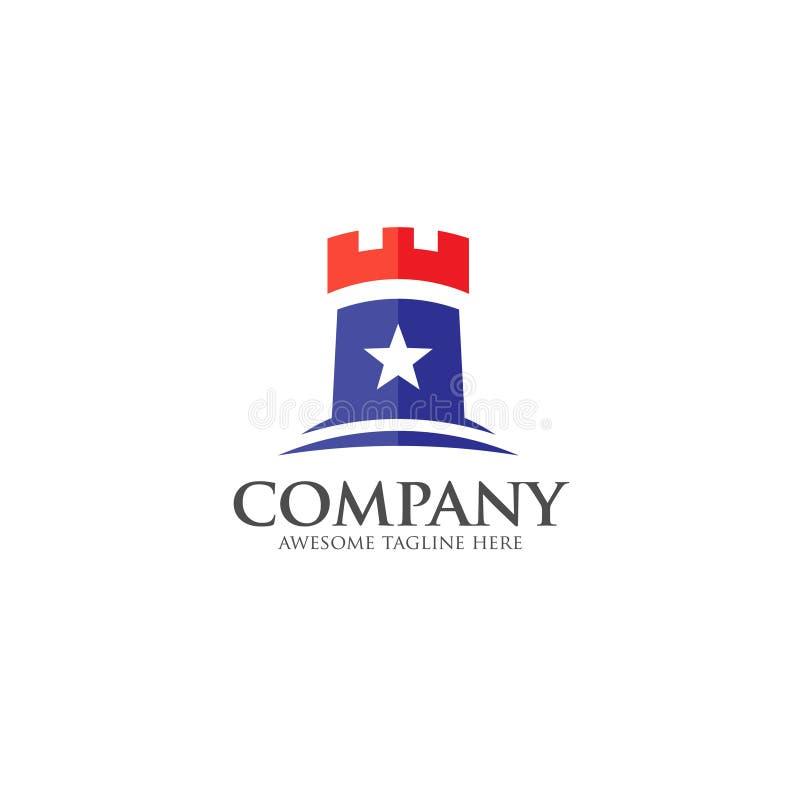 Schlossvektor-Logokonzept im flachen Artdesign lizenzfreie abbildung