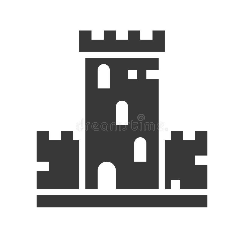 Schlossvektorikone, Vergnügungspark bezog sich feste Art vektor abbildung