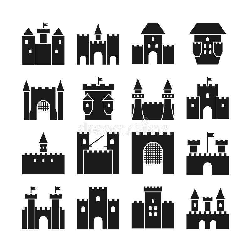 Schlossvektorikonen Mittelalterliche Wände und gotische Turmschwarzschattenbilder vektor abbildung