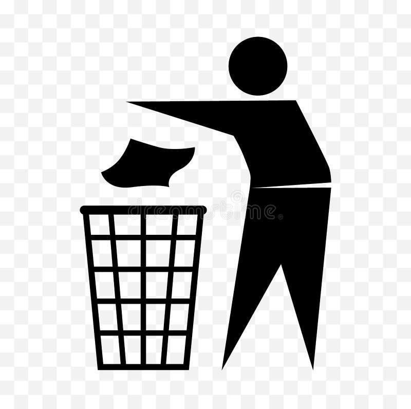 Schludna mężczyzna ikona, no śmieci symbolu ilustracja wektor