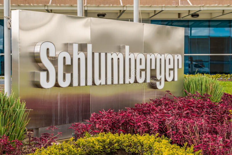 Schlumberger logo outdoor sign stock image