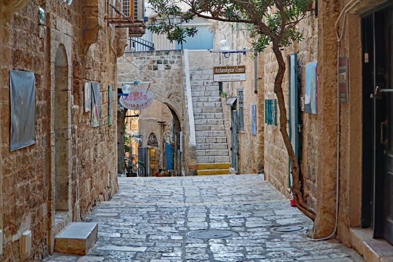 Schmale cobblestoned Wege der alten Stadt von Jaffa lizenzfreie stockfotos