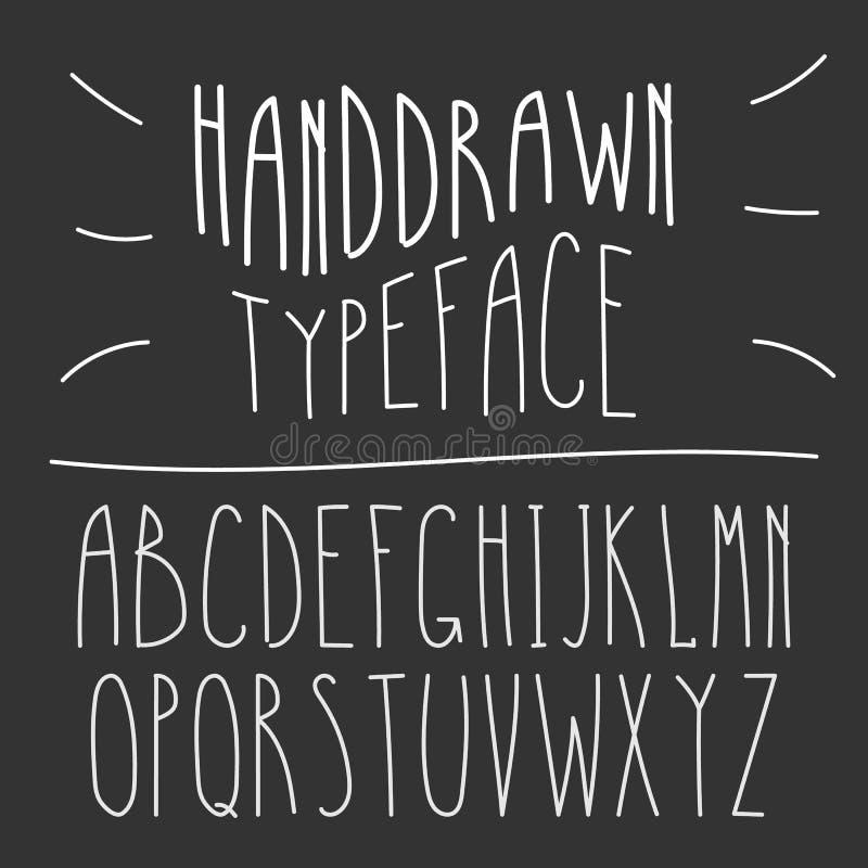 Schmale Handdrawn Monolinie Latein-Guss Einfacher dünner Art Serif lizenzfreie abbildung