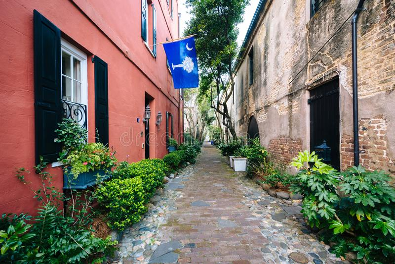 Schmale Kopfsteinstraße und -Altbauten in Charleston, South Carolina lizenzfreies stockbild