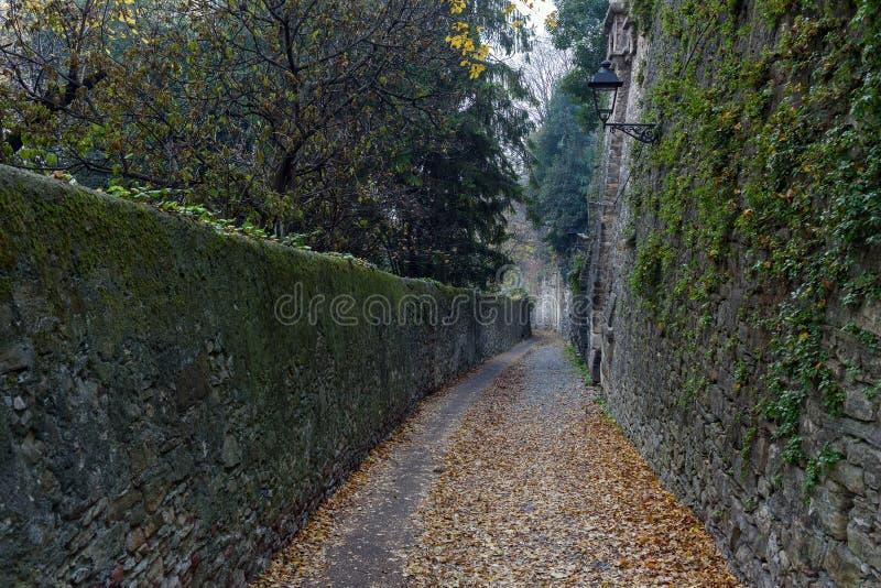 Schmale nebelige Straße unter alten Ruinen mit Herbstlaub auf einer Straße in Bergamo-Stadt, Italien stockfoto