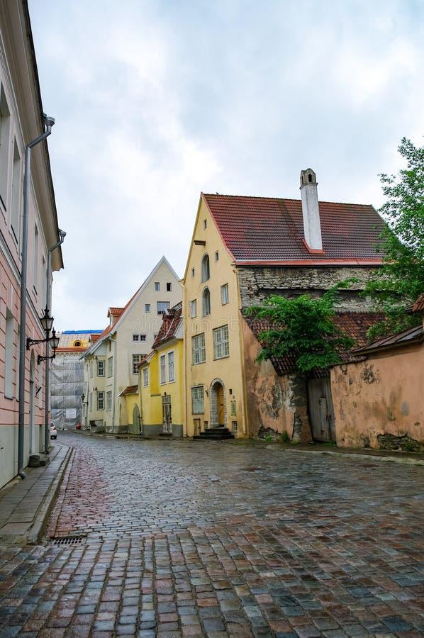 Schmale Straße in der Altstadt von Tallinn, Estland lizenzfreies stockfoto