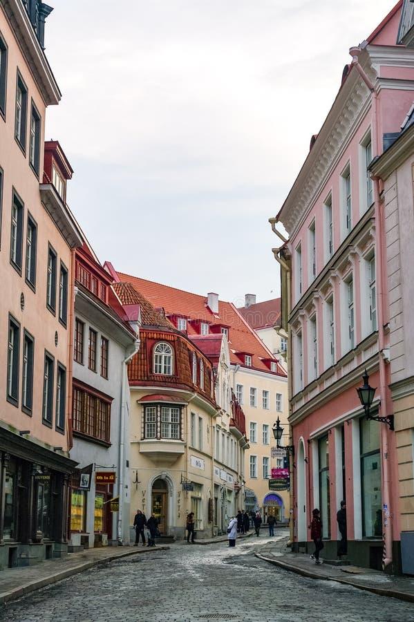 Schmale Straße in der Altstadt von Tallinn, Estland lizenzfreie stockbilder