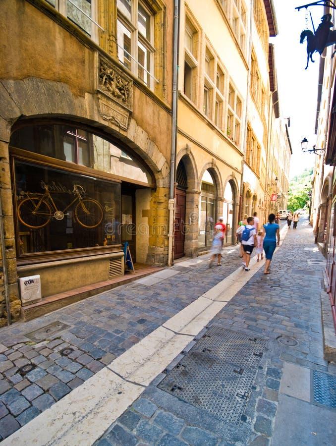 Schmale Straße Kopfsteins Lyons Frankreich stockfotos