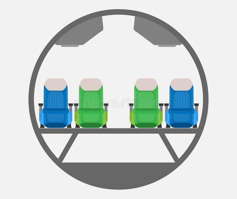 Schmaler Körper Flugzeug-Querschnittvektor stock abbildung